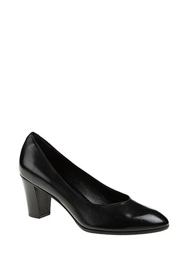 Divarese Kalın Kısa Topuklu Deri Ayakkabı Siyah